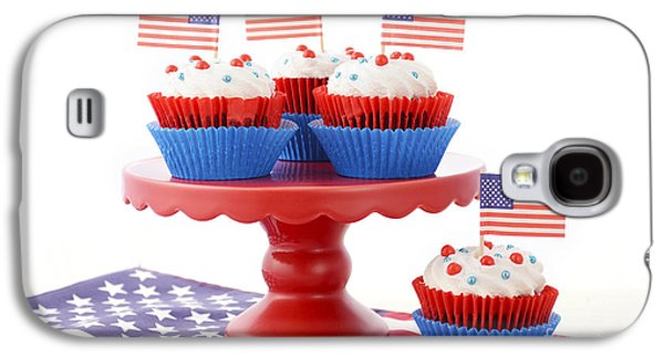 American Independance Galaxy S4 Cases - Happy Fourth of July Cupcakes on Red Stand Galaxy S4 Case by Milleflore Images