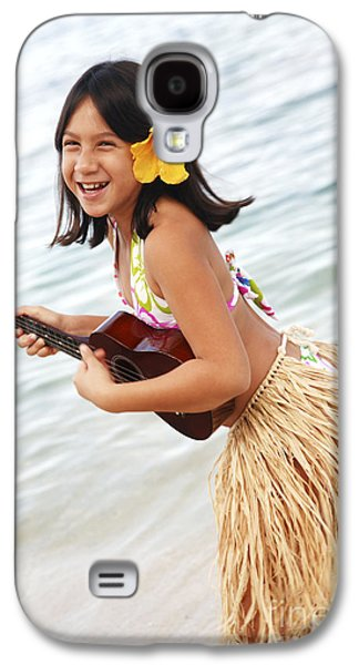 Youthful Galaxy S4 Cases - Happy Girl with Ukulele Galaxy S4 Case by Brandon Tabiolo - Printscapes
