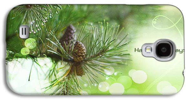 Pine Cones Photographs Galaxy S4 Cases - Happy Holidays Too Galaxy S4 Case by Rebecca Cozart