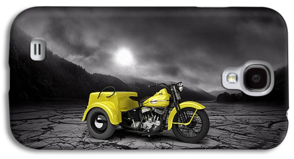 Mountain Valley Galaxy S4 Cases - Harley Davidson Service Car 1942 Mountains Galaxy S4 Case by Aged Pixel