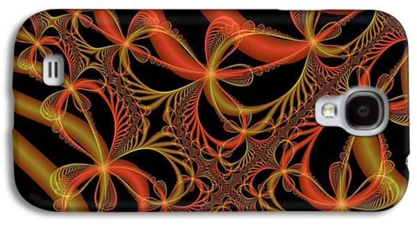 Abstract Digital Mixed Media Galaxy S4 Cases - Harmony In Orange And Gold Galaxy S4 Case by Regina Rodella