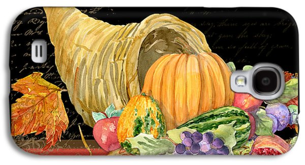 Interior Still Life Mixed Media Galaxy S4 Cases - Harvest Cornucopia of Blessings - Pumpkin Pomegranate Grapes Apples Galaxy S4 Case by Audrey Jeanne Roberts