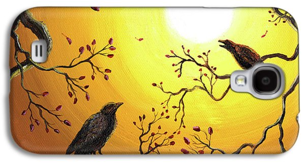 Caws Paintings Galaxy S4 Cases - Harvest Crows Galaxy S4 Case by Laura Iverson