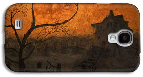 Headstones Paintings Galaxy S4 Cases - Harvest Moon Galaxy S4 Case by Ken Figurski