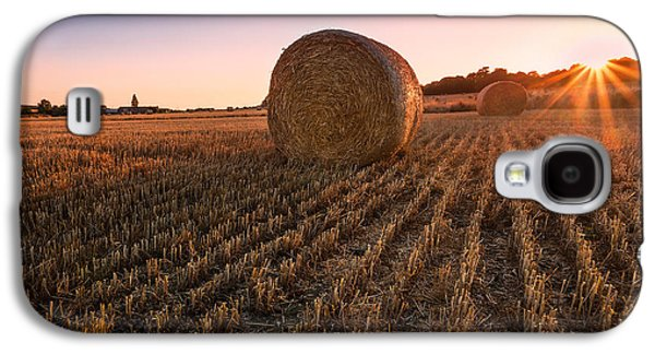Hay Galaxy S4 Cases - Hay bales at Sunset Galaxy S4 Case by Ian Hufton