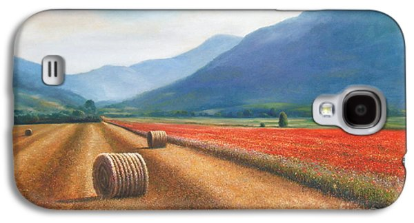 Haybales Paintings Galaxy S4 Cases - Haybales in Italy Galaxy S4 Case by Ann  Cockerill