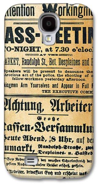 Protesters Galaxy S4 Cases - Haymarket Handbill, 1886 Galaxy S4 Case by Granger