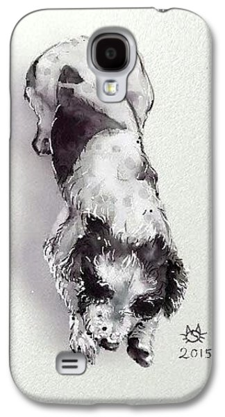 Puppy Digital Art Galaxy S4 Cases - He sleeps all day Galaxy S4 Case by Siriporn Wachter