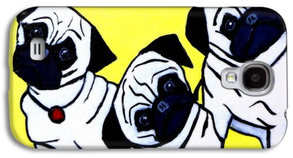 Puppies Galaxy S4 Cases - Head Tilt 3 Pug Puppies Galaxy S4 Case by Katy Hawk