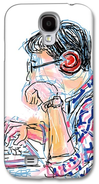 Youthful Drawings Galaxy S4 Cases - Headphones and Laptop Galaxy S4 Case by Robert Yaeger