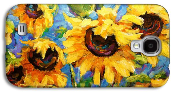 Montreal Paintings Galaxy S4 Cases - Healing light of Sunflowers Galaxy S4 Case by Richard T Pranke