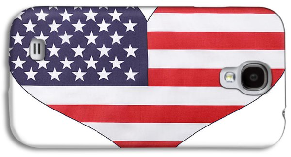 American Independance Galaxy S4 Cases - Heart shape USA Flag Galaxy S4 Case by Milleflore Images