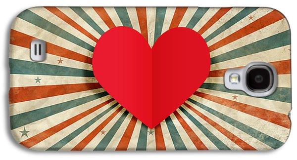 Heart With Ray Background Galaxy S4 Case by Setsiri Silapasuwanchai