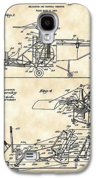 Parchment Galaxy S4 Cases - Helicopter Patent 1940 - Vintage Galaxy S4 Case by Stephen Younts