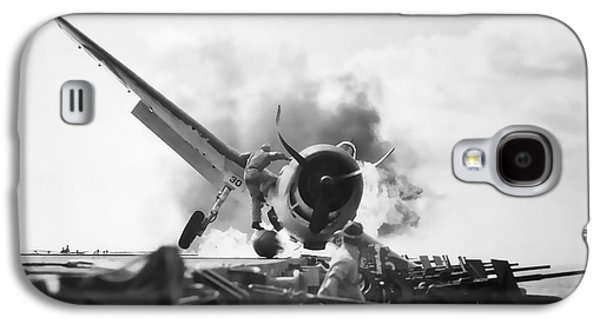 Enterprise Galaxy S4 Cases - Hellcat Aircraft Slams Into U S S Enterprise Carrier  1943 Galaxy S4 Case by Daniel Hagerman