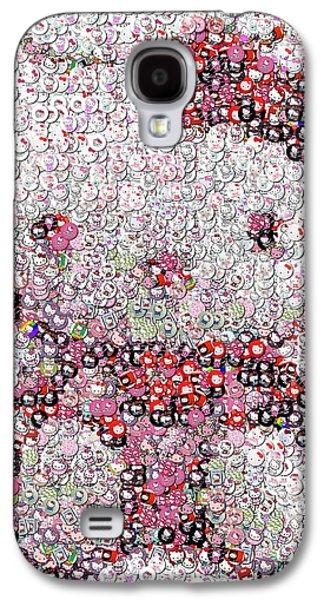 Folk Art Mixed Media Galaxy S4 Cases - Hello Kitty Button Mosaic Galaxy S4 Case by Paul Van Scott
