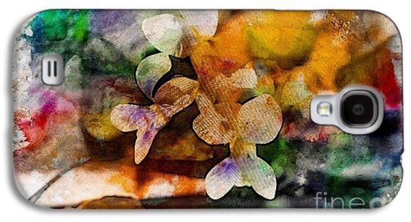 Abstract Digital Art Galaxy S4 Cases - Hello White Violets  Galaxy S4 Case by Jari Hawk