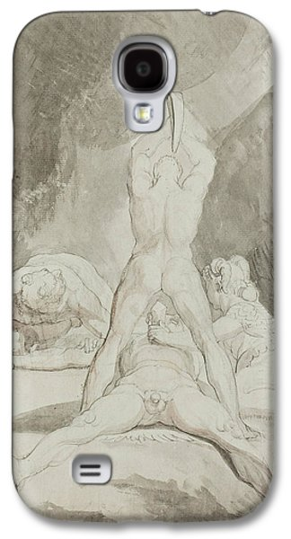 Swiss Drawings Galaxy S4 Cases - Hephaestus Bia and Crato Securing Prometheus on Mount Caucasus Galaxy S4 Case by Henry Fuseli