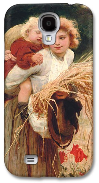 Hay Paintings Galaxy S4 Cases - Her Constant Care Galaxy S4 Case by Frederick Morgan