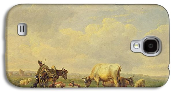 Cattle Dog Paintings Galaxy S4 Cases - Herdsman and Herd Galaxy S4 Case by Eugene Joseph Verboeckhoven