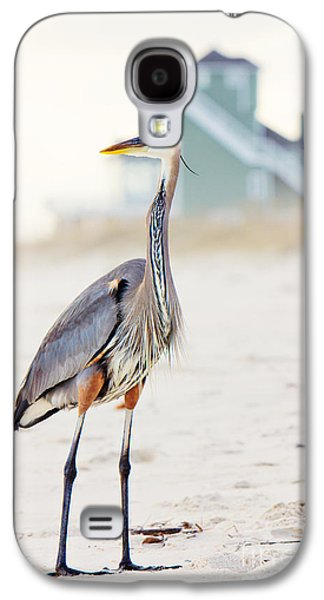 Beach Landscape Galaxy S4 Cases - Heron and the Beach House Galaxy S4 Case by Joan McCool