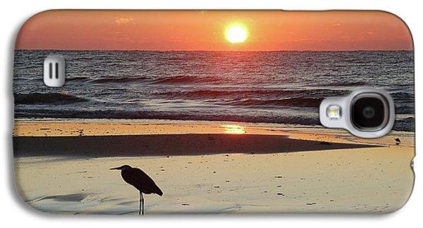 Crimson Tide Galaxy S4 Cases - Heron Watching Sunrise Galaxy S4 Case by Michael Thomas