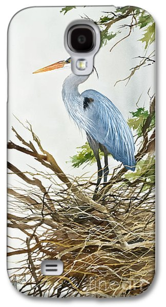 Heron Paintings Galaxy S4 Cases - Herons Nest Galaxy S4 Case by James Williamson
