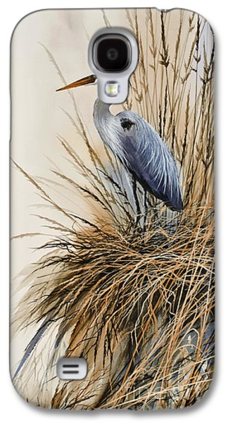 Heron Paintings Galaxy S4 Cases - Herons Solitude Galaxy S4 Case by James Williamson