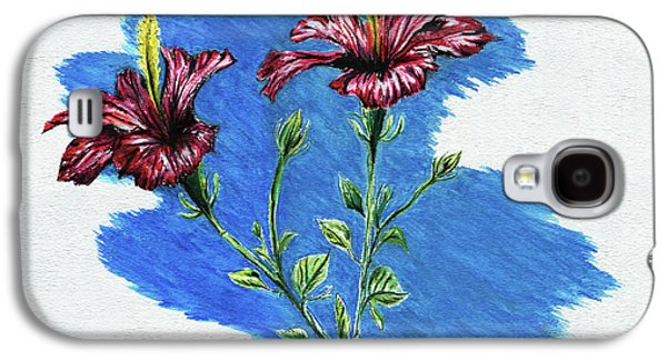 Colored Pencil Paintings Galaxy S4 Cases - Hibiscus Galaxy S4 Case by Peter Piatt