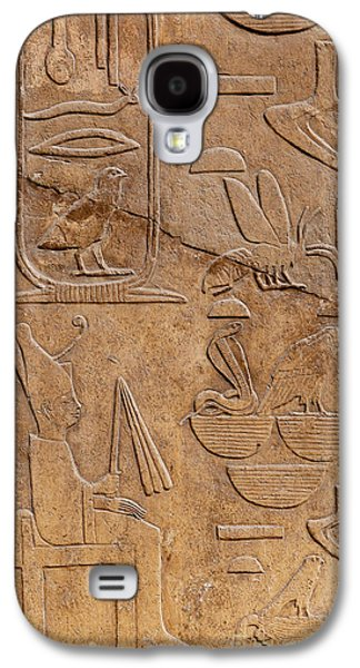 Relief Sculpture Galaxy S4 Cases - Hieroglyphs on ancient carving Galaxy S4 Case by Jane Rix