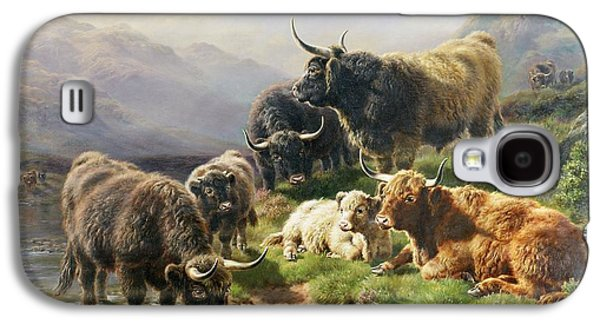 Wilderness Paintings Galaxy S4 Cases - Highland Cattle Galaxy S4 Case by William Watson