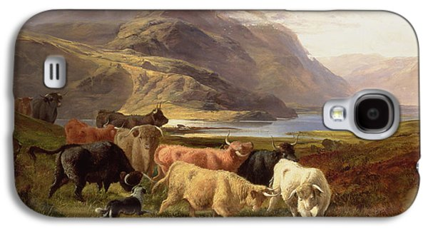 Highland Cattle With A Collie Galaxy S4 Case by Joseph Adam