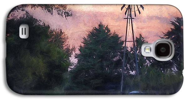 Western Digital Art Galaxy S4 Cases - Hill Country windmill Galaxy S4 Case by Scott Norris