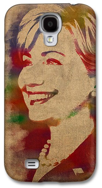 Hillary Rodham Clinton Watercolor Portrait Galaxy S4 Case by Design Turnpike