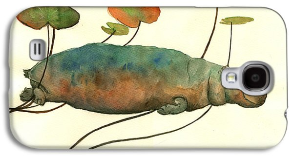 Hippo Swimming With Water Lilies Galaxy S4 Case by Juan  Bosco