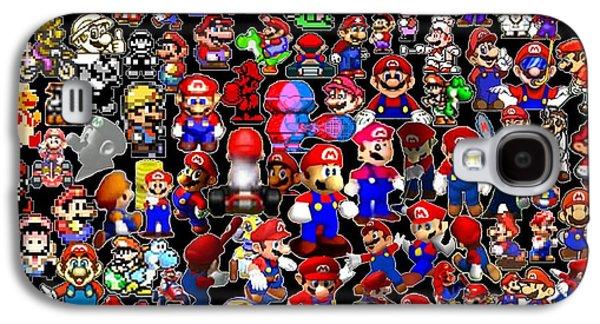 Mushroom Digital Art Galaxy S4 Cases - History of Mario Mosaic Galaxy S4 Case by Paul Van Scott