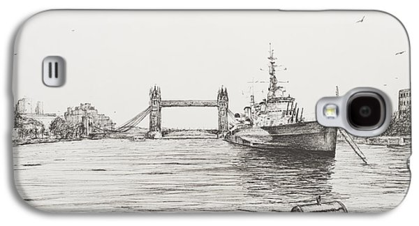Sailboats Drawings Galaxy S4 Cases - HMS Belfast on the river Thames Galaxy S4 Case by Vincent Alexander Booth