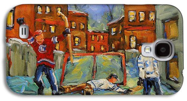 Canadian Sports Paintings Galaxy S4 Cases - Hockey Kids He Scores Galaxy S4 Case by Richard T Pranke