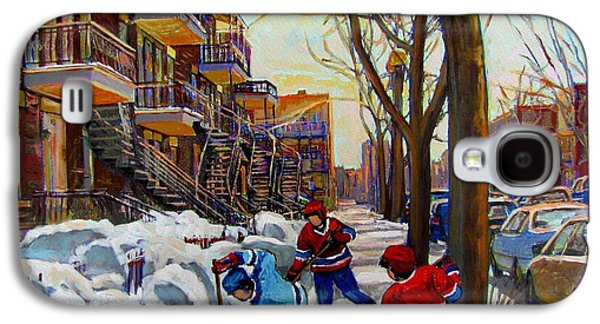 Quebec Streets Paintings Galaxy S4 Cases - Hockey On De Bullion  Galaxy S4 Case by Carole Spandau