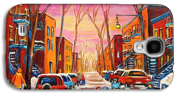 Montreal Storefronts Paintings Galaxy S4 Cases - Hockey On Hotel De Ville Street Galaxy S4 Case by Carole Spandau