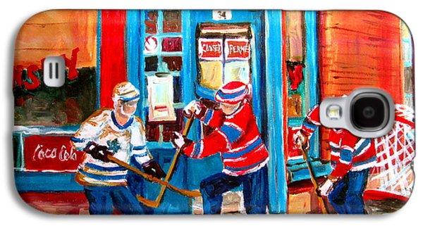 Streethockey Paintings Galaxy S4 Cases - Hockey Sticks In Action Galaxy S4 Case by Carole Spandau