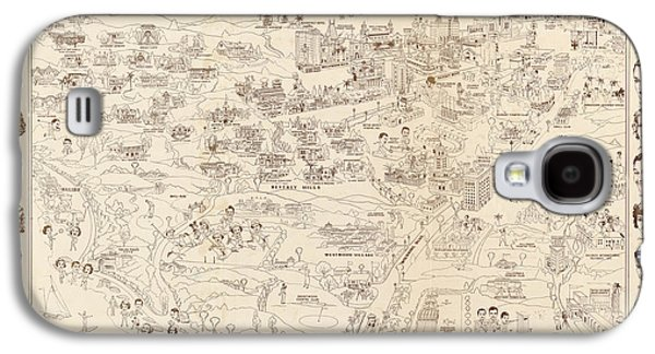 Hollywood Map To The Stars 1937 Galaxy S4 Case by Don Boggs