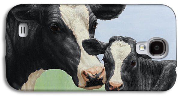 Cows Paintings Galaxy S4 Cases - Holstein Cow and Calf Galaxy S4 Case by Crista Forest
