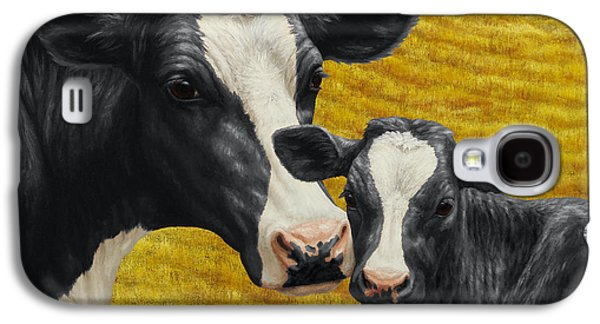 Old Barns Paintings Galaxy S4 Cases - Holstein Cow and Calf Farm Galaxy S4 Case by Crista Forest
