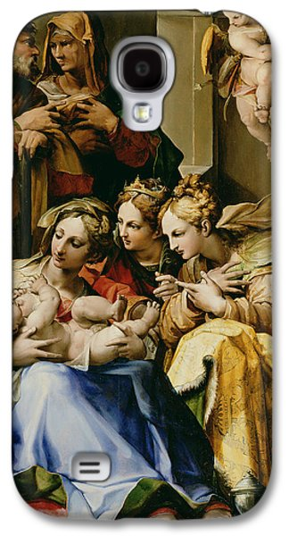 Christmas Eve Paintings Galaxy S4 Cases - Holy Family with Saint Anne Catherine of Alexandria and Mary Magdalene Galaxy S4 Case by Nosadella