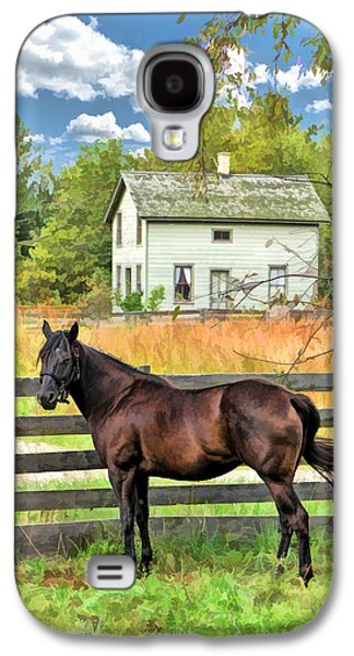 Old Barns Paintings Galaxy S4 Cases - Horse and Barn at Old World Wisconsin Galaxy S4 Case by Christopher Arndt