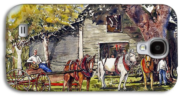 Horse And Buggy Paintings Galaxy S4 Cases - Horse and Buggy Galaxy S4 Case by Shirley Sykes Bracken