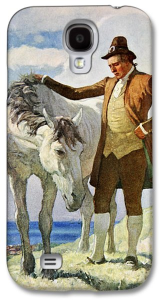 Owner Galaxy S4 Cases - Horse and Owner Galaxy S4 Case by Newell Convers Wyeth