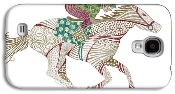 Colored Pencil Paintings Galaxy S4 Cases - Horse Racer Galaxy S4 Case by Amy Kirkpatrick
