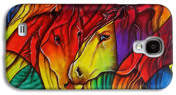 Abstracts Galaxy S4 Cases - Horses Abstract Galaxy S4 Case by Arun Sivaprasad